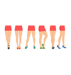 cartoon women legs icon set different types vector image