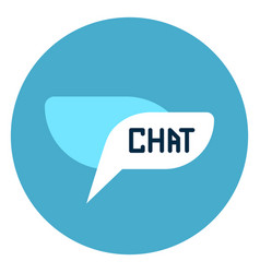 Chat bubble icon web button on round blue vector