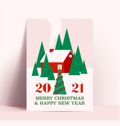 christmas poster or card design template with red vector image