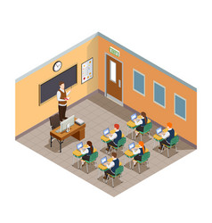 Class room isometric composition vector
