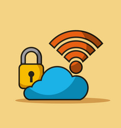 cloud security data internet connection storage vector image