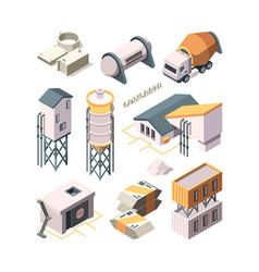Concrete production cement factory industry vector