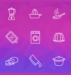 cooking icons line style set with orange squeezer vector image