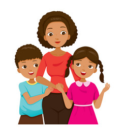 daughter and son hugging their mother vector image