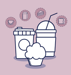 delicious milkshake with set food vector image