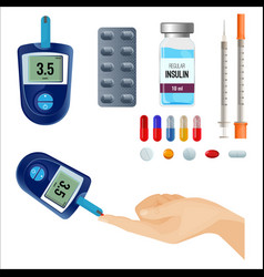 Device to measure sugar level and medicines vector