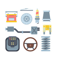 different mechanical car parts flat vector image