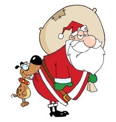 Dog Biting Santas Butt vector image