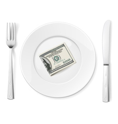 Dollars on plate vector image vector image