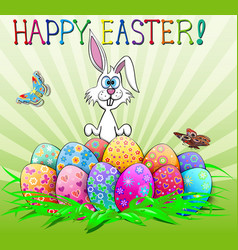 easter greeting card with bunny and eggs cartoon vector image