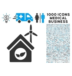 Eco House Building Icon with 1000 Medical Business vector image