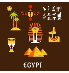 Egypt travel and ancient culture icons vector image