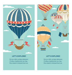 explore and travel banners set with hot air vector image