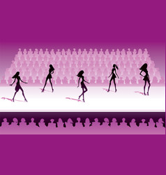 fashion models make catwalk show vector image vector image