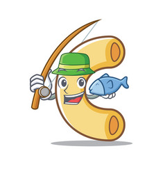 Fishing macaroni mascot cartoon style vector