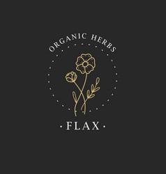 Flax flower logo for spa and beauty salon vector