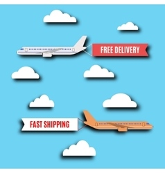 Flying advertising banners at airplane vector image