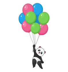 Funny panda with balloons flying vector