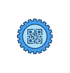 gear with qr code inside concept colored vector image