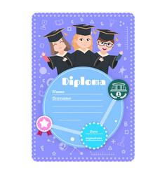 Graduate kids diploma preschool kindergarten vector