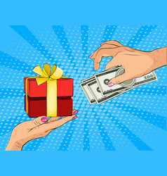 hand giving dollars banknote and present gift vector image
