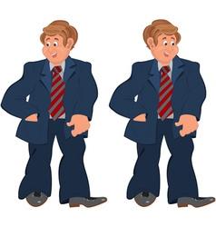 Happy cartoon man standing in striped tie vector image