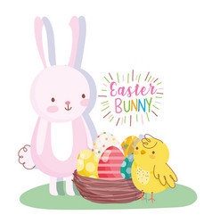 happy easter rabbit and chicken with basket eggs vector image