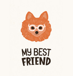 Head of cute pomeranian dog in glasses and my best vector