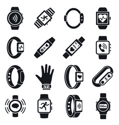 health fitness tracker icon set simple style vector image