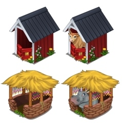 Hippo and bull in cozy enclosures for animals vector
