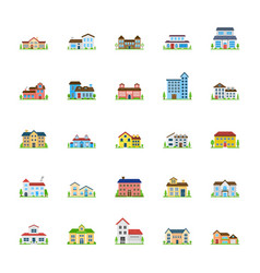 House exterior flats icons vector