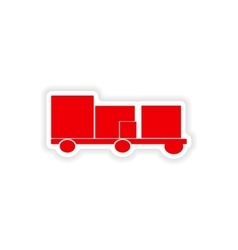 Icon sticker realistic design on paper trailer vector
