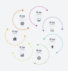 infographics template 7 options with circle vector image