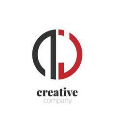 initial letter nj creative elegant circle logo vector image