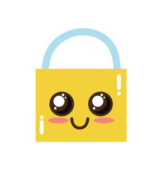 Kawaii cute happy padlock element vector