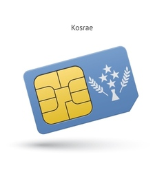 Kosrae mobile phone sim card with flag vector image