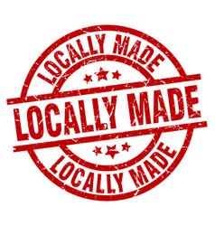 Locally made round red grunge stamp vector