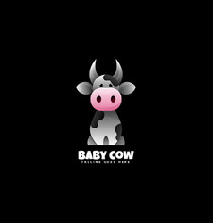 Logo baby cow gradient colorful style vector