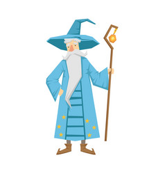 Magic old man with magic staff colorful fairy vector