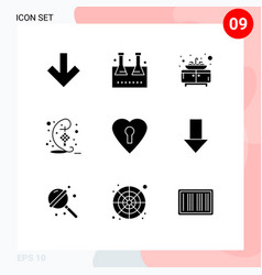 Modern set 9 solid glyphs pictograph of vector