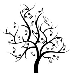 Musical tree with music notes vector