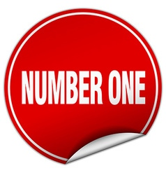 number one round red sticker isolated on white vector image vector image