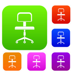 office a chair with wheels set color collection vector image