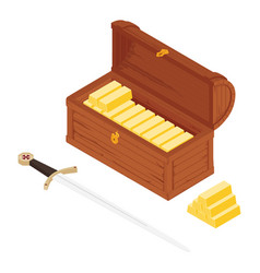 old wooden chest with gold bars and sword vector image