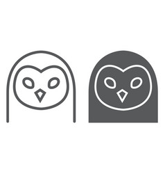 owl line and glyph icon animal and zoo bird sign vector image