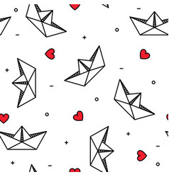 Paper origami boats with hearts love marine travel vector