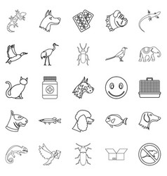 Pet icons set outline style vector