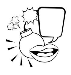 Pop art explosive bomb cartoon in black and white vector
