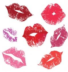 Print lips kiss vector