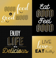 Retro style food quotes set in gold color vector image